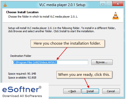 Select location to install vlc