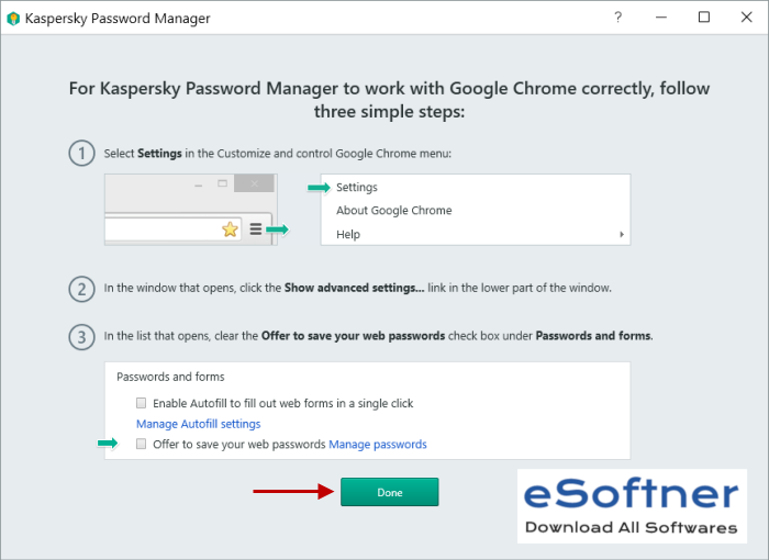 Kaspersky Password Manager options
