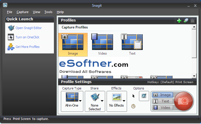 interface of snagit
