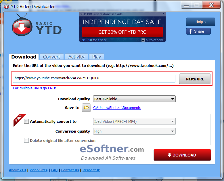 Interface of Video Downloader