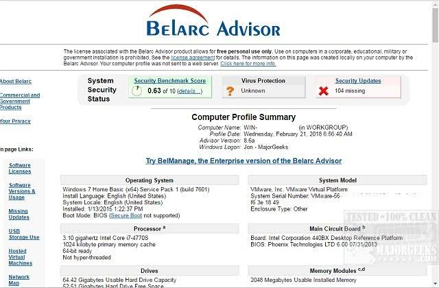 Belarc Advisor Free Download